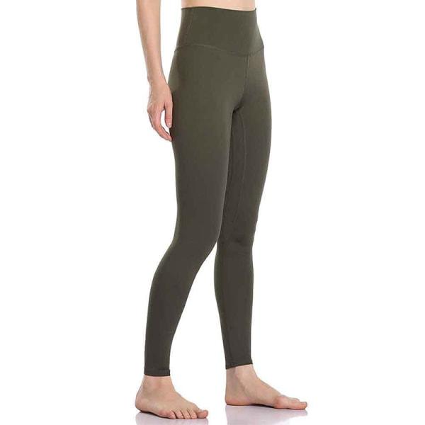 Women's sports high waist seamless yoga pants casual leggings ArmyGreen,L
