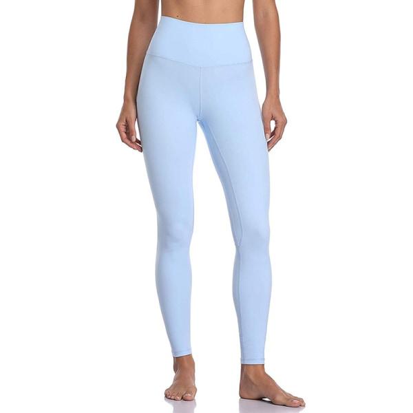 Women's sports high waist seamless yoga pants casual leggings Light blue,M