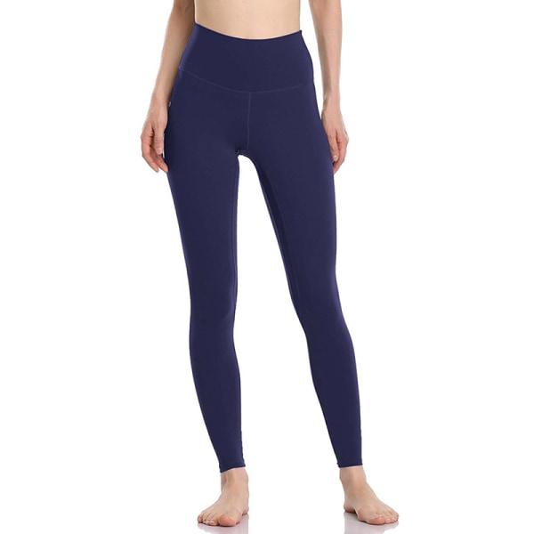 Women's sports high waist seamless yoga pants casual leggings Navy blue,S