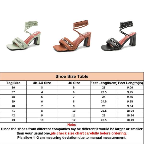 Women's square head strap sandals casual high heels open toe Black,37