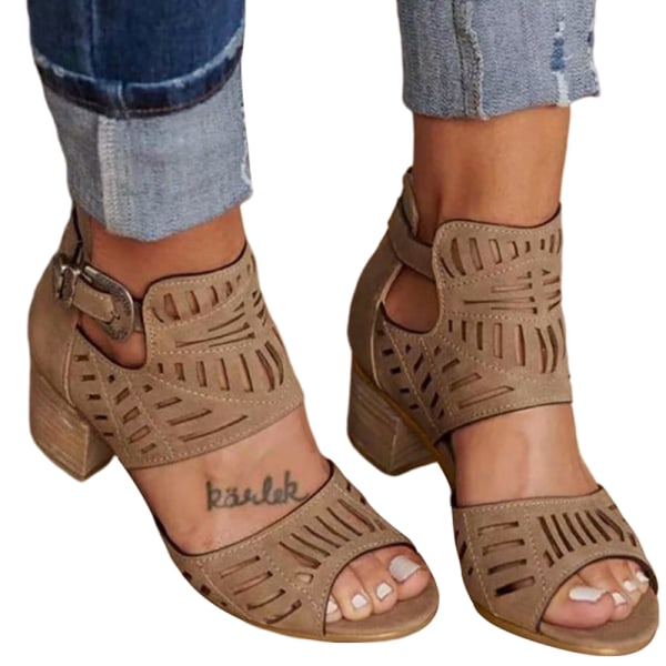Women's Summer Fashion Sandals Comfortable Breathable High Heels Brown,36