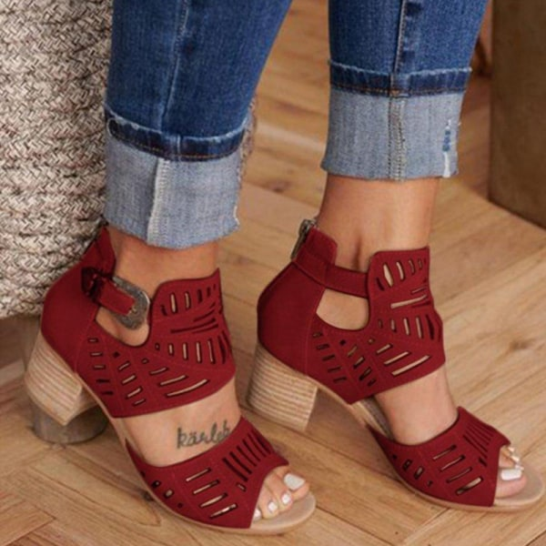 Women's Summer Fashion Sandals Comfortable Breathable High Heels Red,39