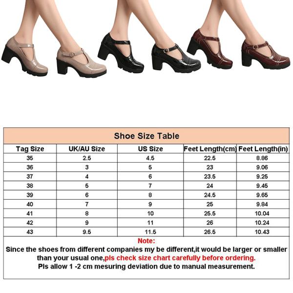 Kvinnors tjocka klack höga klackar spänne skor läderskor Nude ,37