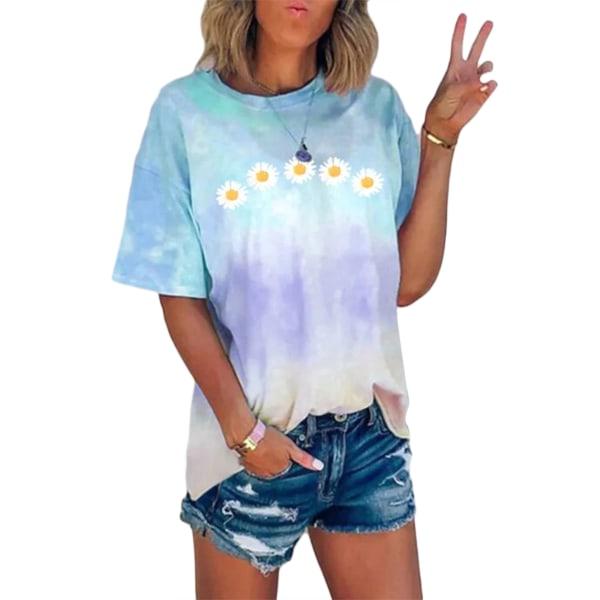 Women's Tie Dye Short Sleeve Round Neck T-Shirt Top Plus Size Blue,5XL
