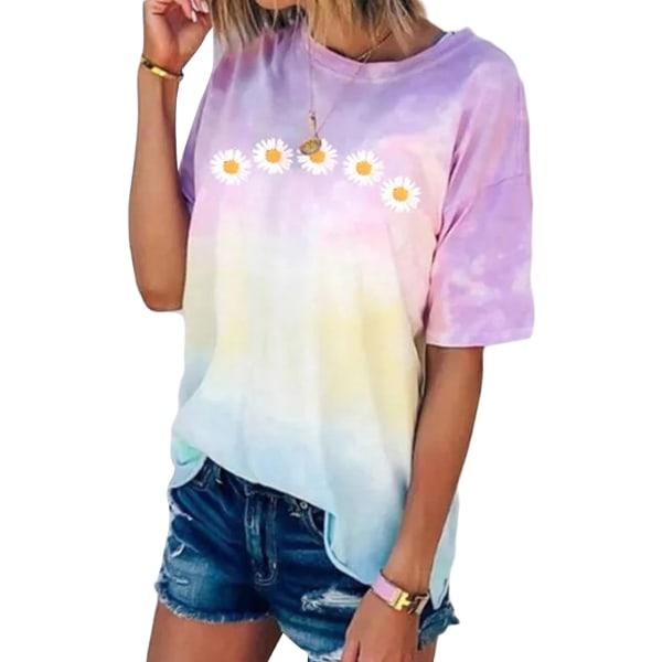 Women's Tie Dye Short Sleeve Round Neck T-Shirt Top Plus Size Lavender,XL