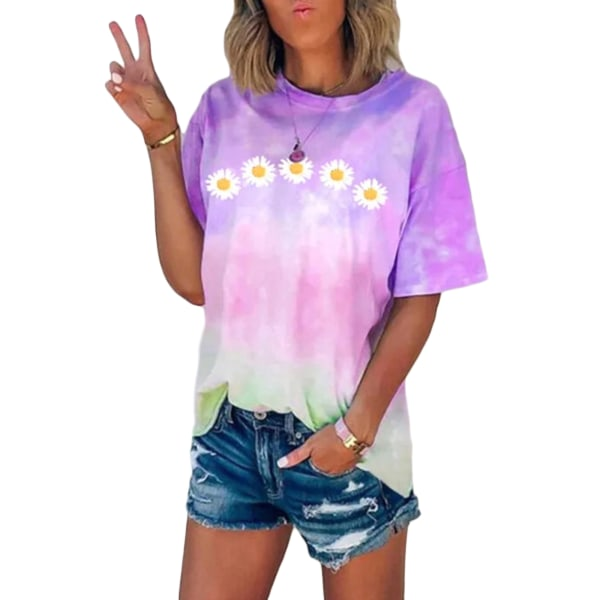 Women's Tie Dye Short Sleeve Round Neck T-Shirt Top Plus Size Purple,S