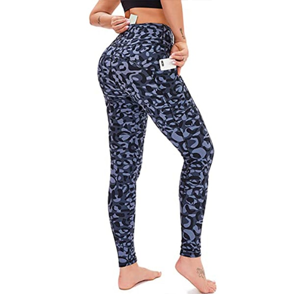 Women's tights high waist Yoga Pants exercise pants Blue Leopard Print,L