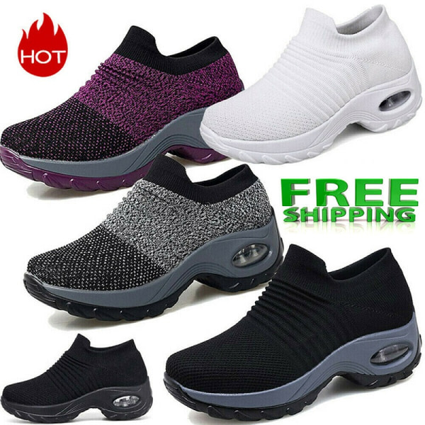 Womens Trainers Air Cushion Slip-On Breathable Sneakers Sport Running Shoes Size