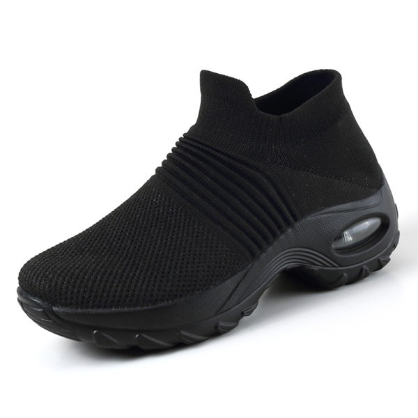Women's Trainers Air Cushion Breathable Sneakers Running Shoes X Black,37