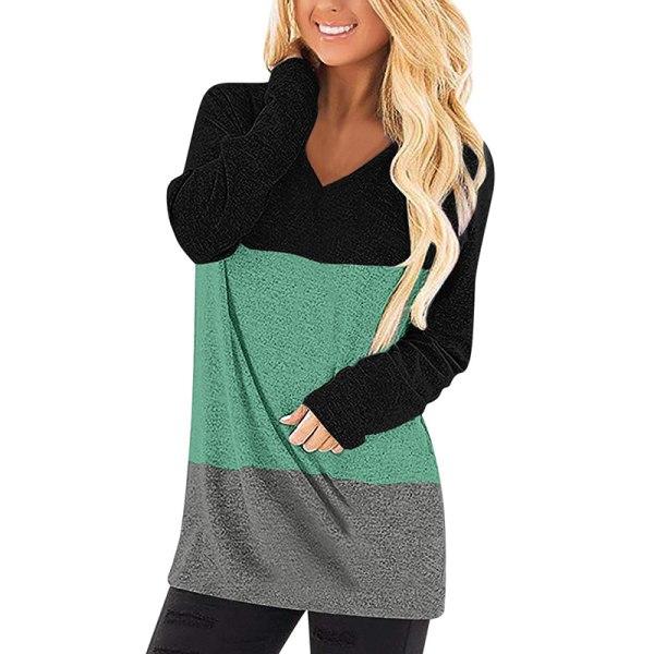Women's V-neck long-sleeved T-shirt stitching shirt top pullover Black Green,XXL