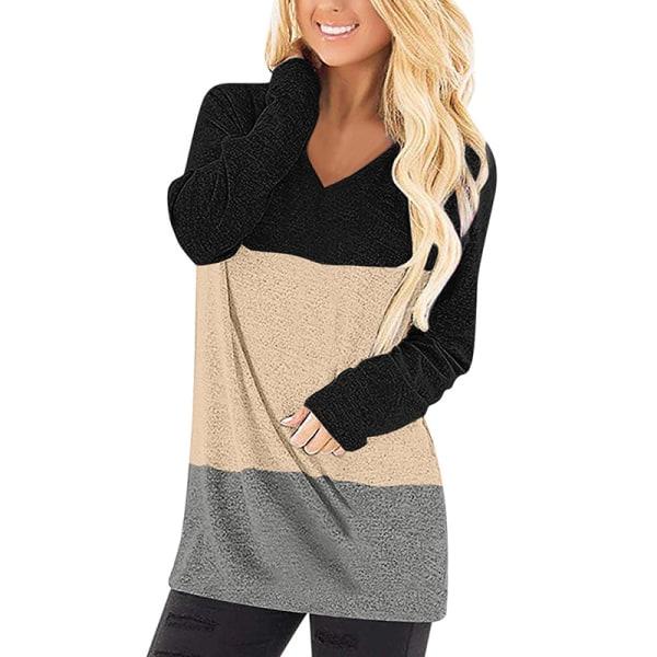 Women's V-neck long-sleeved T-shirt stitching shirt top pullover Black Yellow,XL
