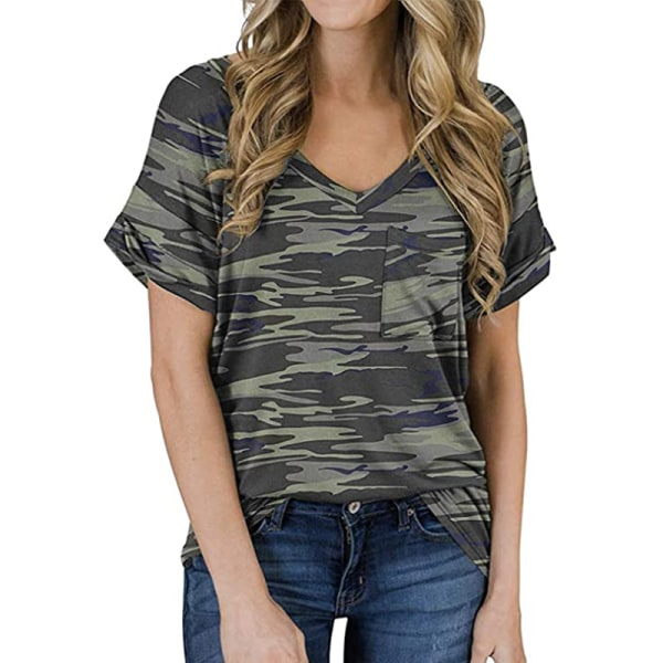 Women's V-neck Top Short Sleeve Casual T-shirt Loose T-shirt Camouflage army green,XXL