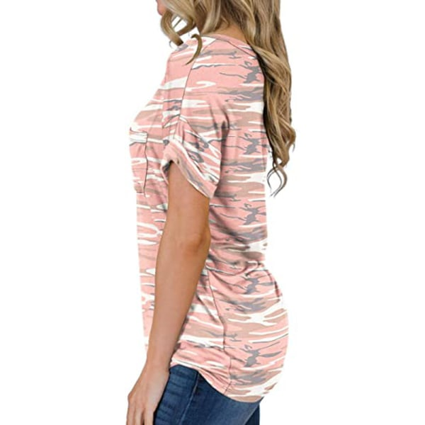 Women's V-neck Top Short Sleeve Casual T-shirt Loose T-shirt Camouflage pink,XL