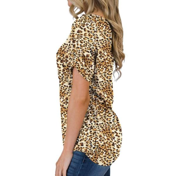 Women's V-neck Top Short Sleeve Casual T-shirt Loose T-shirt Golden leopard,M