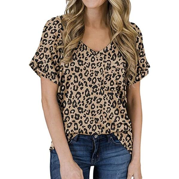 Women's V-neck Top Short Sleeve Casual T-shirt Loose T-shirt Light brown leopard print,XXL