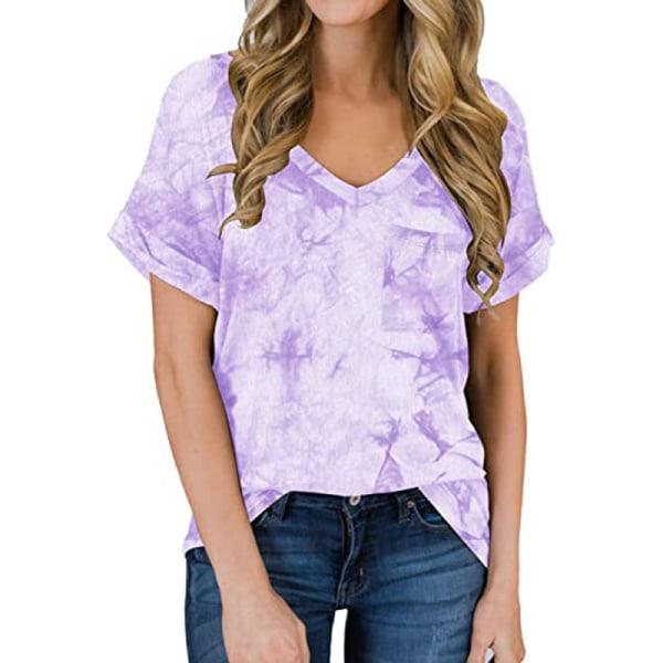 Women's V-neck Top Short Sleeve Casual T-shirt Loose T-shirt Light purple,M