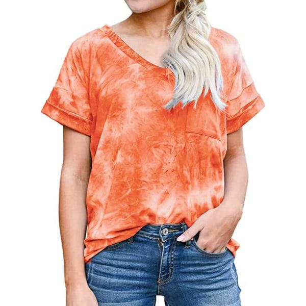 Women's V-neck Top Short Sleeve Casual T-shirt Loose T-shirt Orange,S