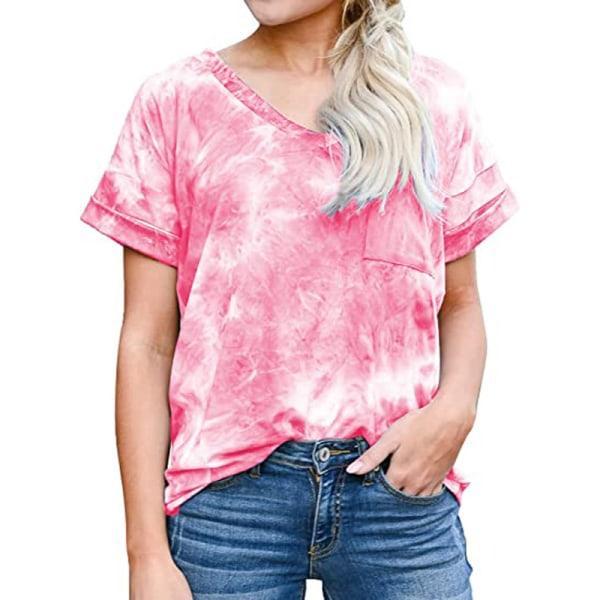 Women's V-neck Top Short Sleeve Casual T-shirt Loose T-shirt rose Red,XXL
