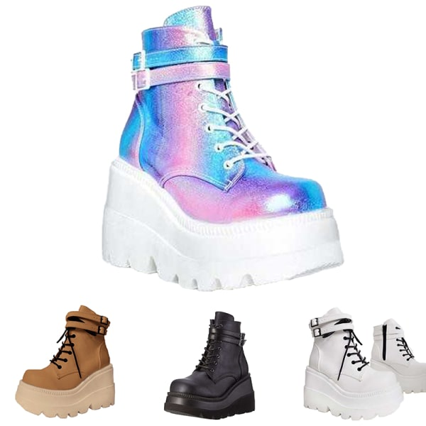 Women's wedge sponge cake platform shoes high-top casual shoes Colorful,39
