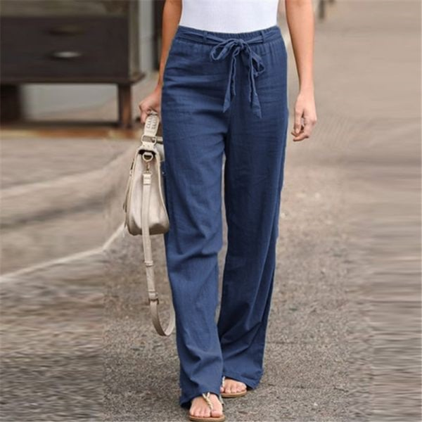 Women's Wide Leg Pants Casual Elastic Waist Yoga Sweatpants Blue,4XL