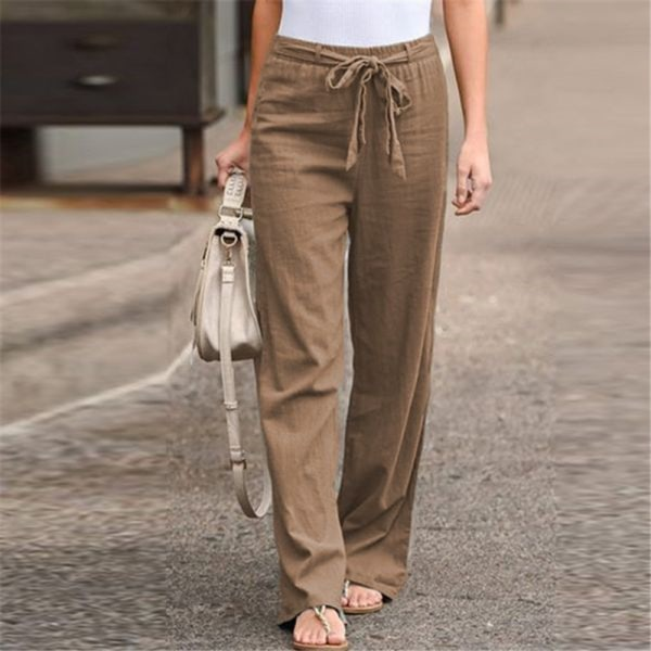 Women's Wide Leg Pants Casual Elastic Waist Yoga Sweatpants Khaki,4XL