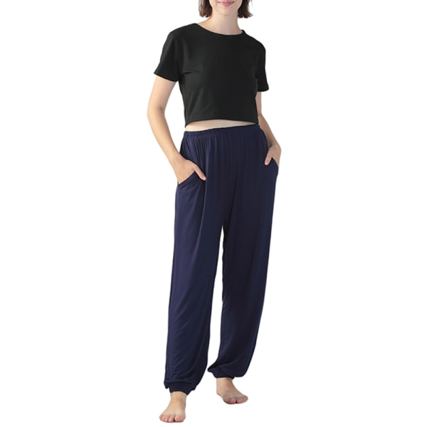 Women's Yoga Pants Elastic Solid Color Sports Runn Fitness Pants Navy blue,XXL