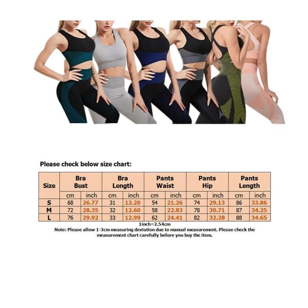 Women's Yoga Sports Bra Top High Waist Leggings Set Sportswear Black,S