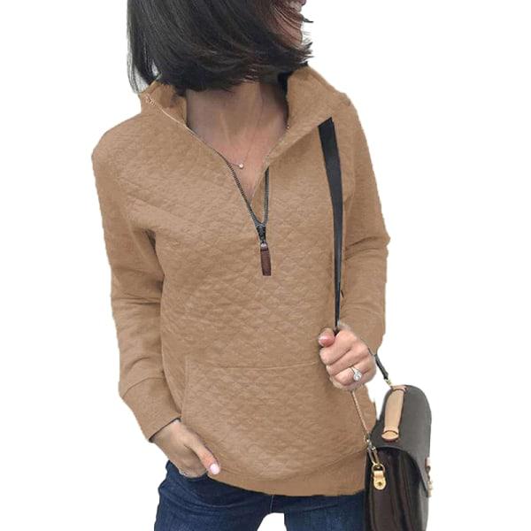 Women's Zipper Sweater Casual Long Sleeve Sweatshirt Pullover apricot,L