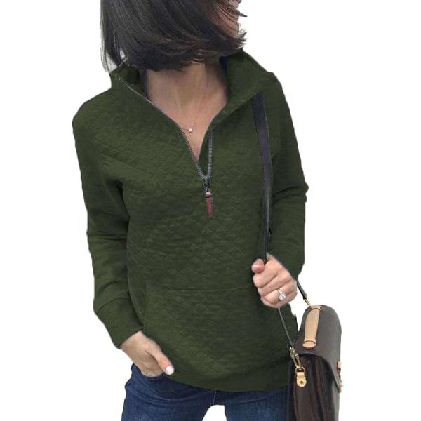 Women's Zipper Sweater Casual Long Sleeve Sweatshirt Pullover ArmyGreen,XXL