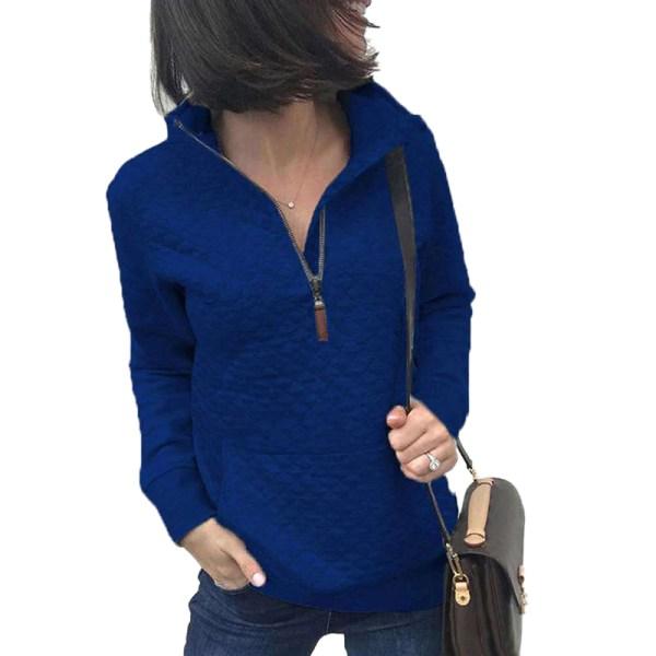Women's Zipper Sweater Casual Long Sleeve Sweatshirt Pullover Blue,XL