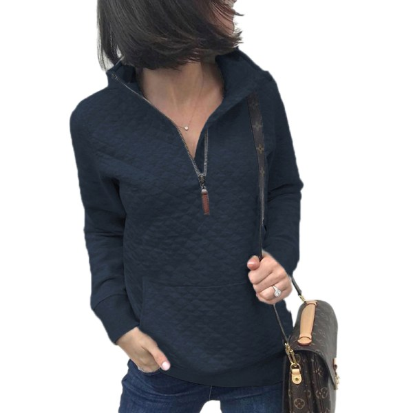 Women's Zipper Sweater Casual Long Sleeve Sweatshirt Pullover Dark blue,L