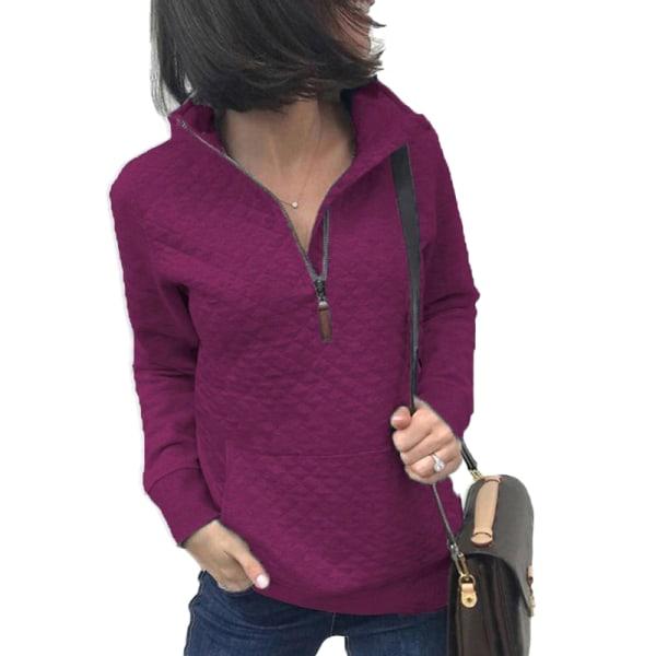 Women's Zipper Sweater Casual Long Sleeve Sweatshirt Pullover Purple Red,L