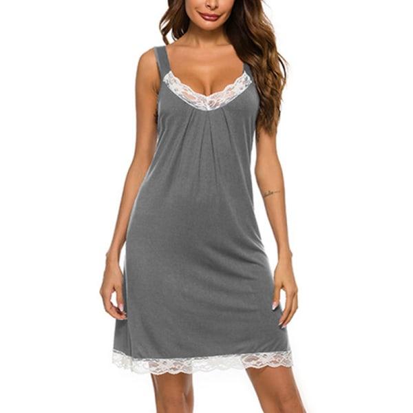 Women Sexy Lace Lingerie Dress Ladies Loose Sleeveless Nightwear Grey,S