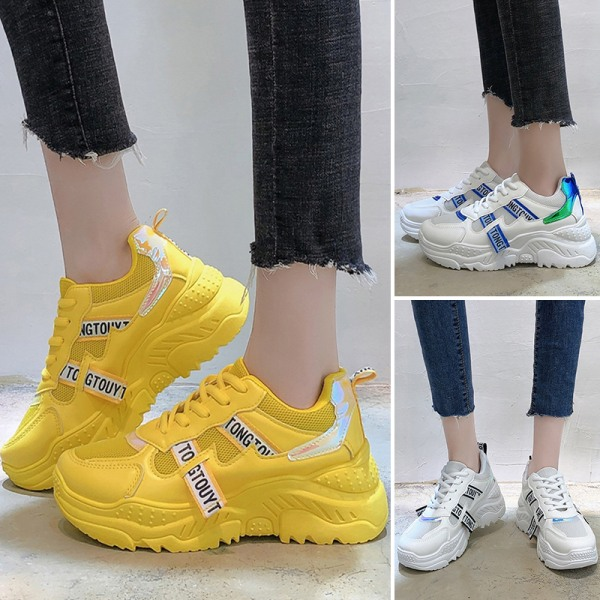 Women Sneakers Breathable Sports Shoes Training Fitness Running Yellow,38