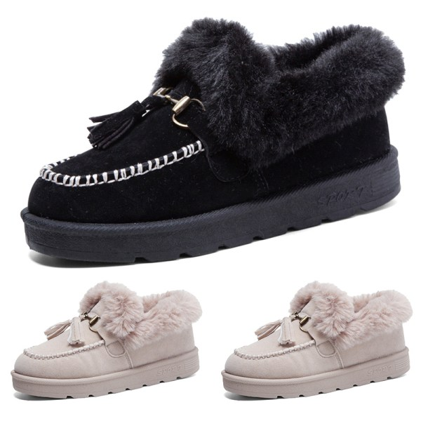 Women Snow Boots Fur Lined Solid Color Flats Winter Warmer Shoes Beige,36