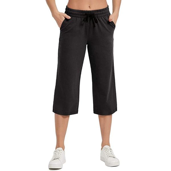 Kvinnor Enfärgad midja yogabyxor sport elastisk midja Black,L