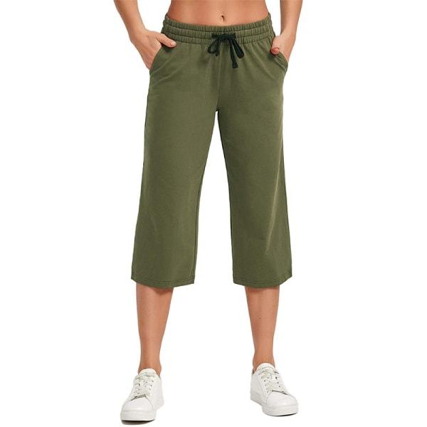 Kvinnor Enfärgad midja yogabyxor sport elastisk midja Green,M