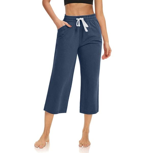 Kvinnor Enfärgad midja yogabyxor sport elastisk midja Navy Blue,XL