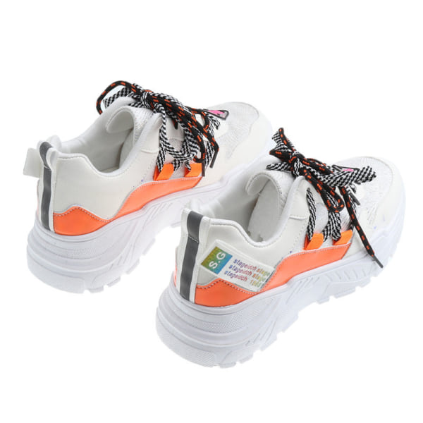 Women Sports Running Gym Shoes Outdoor Athletic Casual Sneakers Orange,37