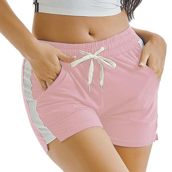 Kvinnors sportyoga Shorts Beach Hot Pants Trunks Drawstring Pink,XL