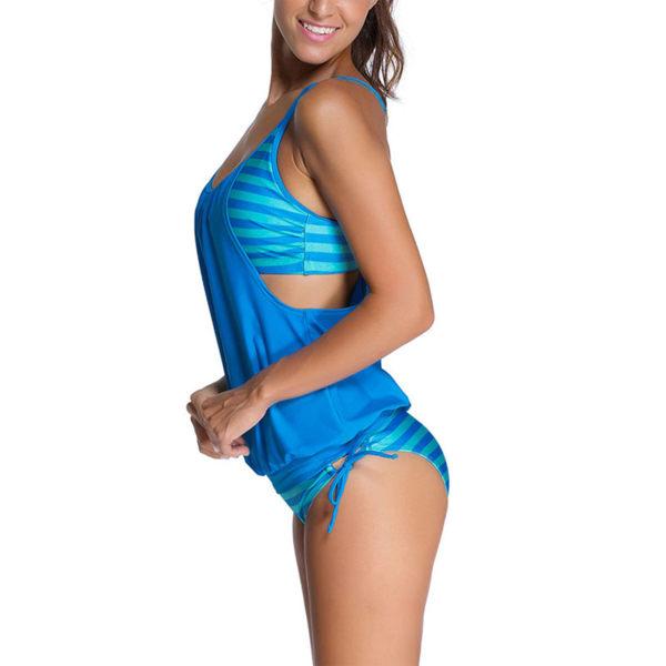 Women Sporty Swimwear Bikini Swimsuit Two Piece Bathing Tankini Blue,XXL