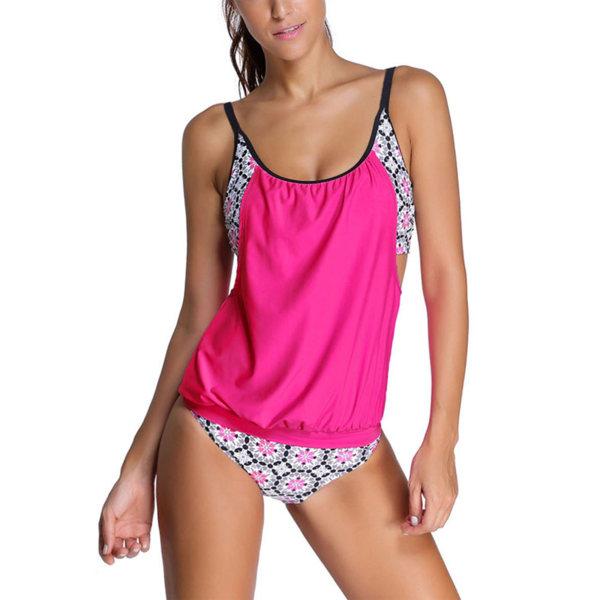 Women Sporty Swimwear Bikini Swimsuit Two Piece Bathing Tankini Rose Flower,M