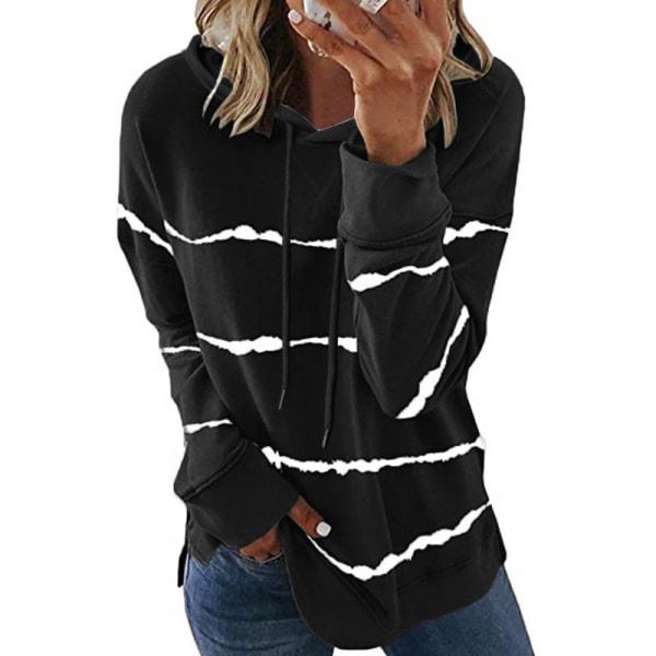 Women Striped Long Sleeve Top Sweatshirt Casual T-shirt Hoodie black,XL