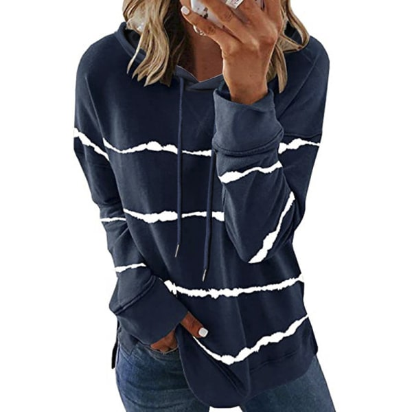 Women Striped Long Sleeve Top Sweatshirt Casual T-shirt Hoodie Dark blue,4XL