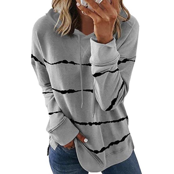 Women Striped Long Sleeve Top Sweatshirt Casual T-shirt Hoodie Gray,XL