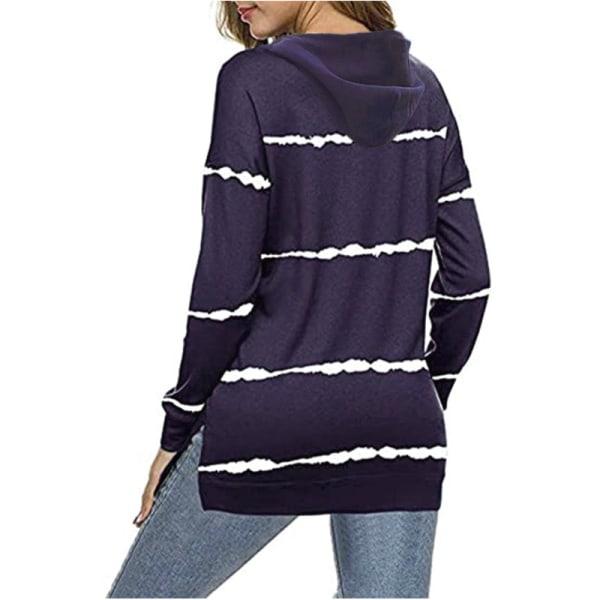 Women Striped Long Sleeve Top Sweatshirt Casual T-shirt Hoodie Purple,4XL