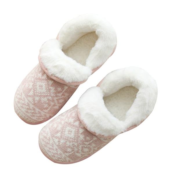 Women Striped Printed Winter Warm Slipper Full Cover Floor Shoes Pink,37-38