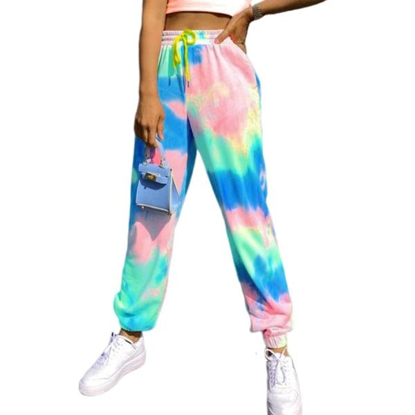 Kvinnor Tie Dye Midja Yoga Byxor Casual Sport Stretch Blue,3XL