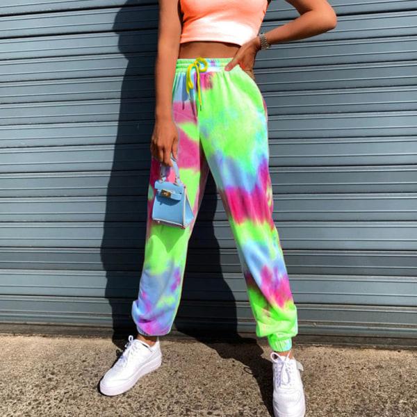 Kvinnor Tie Dye Midja Yoga Byxor Casual Sport Stretch Green,M