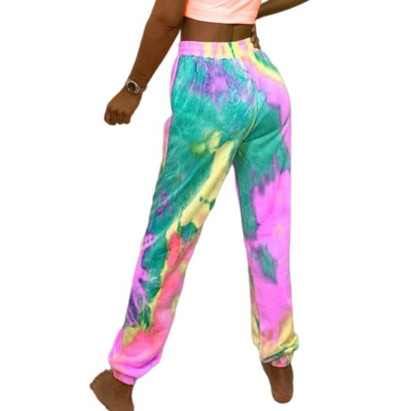 Kvinnor Tie Dye Midja Yoga Byxor Casual Sport Stretch Pink,2XL